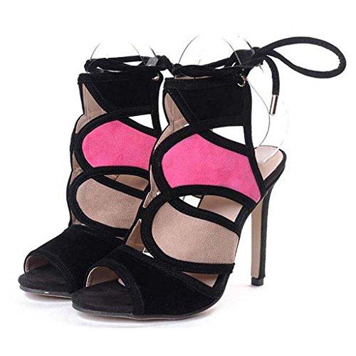 SHEO sandales à talons hauts Mesdames avec des bretelles à talons hauts sexy toe fine avec des sandales en dentelle ( Couleur : Multicolore , taille : 35 ) Multicolore