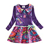 VIKITA Robes Fille Manches Longues Coton Cartoon Floral Princesse Casual Enfant L360PURPLE 6T