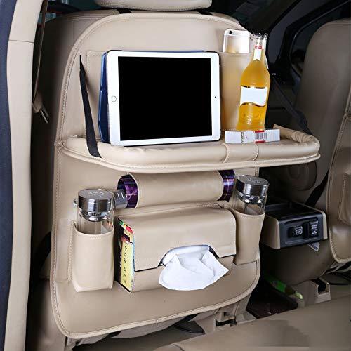 Gu3Je Autositzlehne, Multifunktions-Aufbewahrungstasche mit Tablet-Ständer, Klapptisch mit Kickpad Beige -