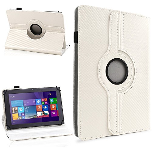 NAUC Tasche Hülle für ODYS Ieos Quad 10 Pro Schutzhülle Tablet Cover Case Bag Etui, Modellauswahl:Weiss Carbon-Erscheinungsbild 360°