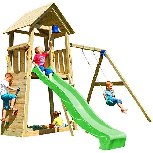 Blue Rabbit 2.0 Spielturm BELVEDERE mit Rutsche + Einzelschaukel, Kletterwand, Sandkasten Kletterturm Holzturm mit Holzdach Kiefer MASSIVHOLZ imprägniert (Grün)