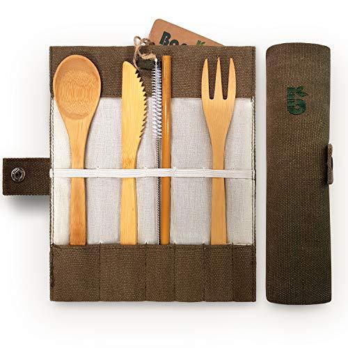 Bambaw Bambus Besteck Set | Reisebesteck | umweltfreundliches Besteckset | Messer, Gabel, Löffel und Strohhalm| Besteck Holz | Reisebesteck für unterwegs mit Reiseetui | 20 cm (Größte Abfall-taschen)