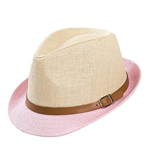 Leisial Sombrero del Jazz Paja Sombrero Pequeño Británico Doble Color Sombrero Sol Verano Playa para Unisex Mujer Hombre Rosa