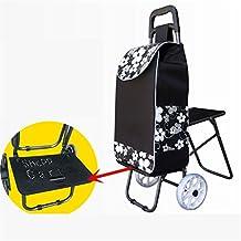 DELLT- Viaje de compras Camión de mano Ancianos Escaleras de escalada Carrito de la compra Supermercado para comprar alimentos con asiento Cojinete de cristal Palanca de una sola rueda Carro de coche ( Color : #5 )
