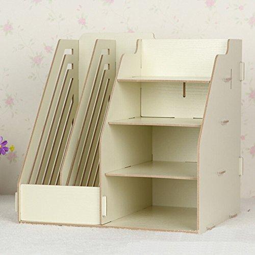 Hensych® - Organizer in legno da scrivania, 2 portadocumenti rimovibili/portariviste e 4 ripiani Beige