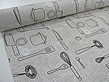 Confección Saymi Meterware, Leinenstoff, Bedruckt, Ref. Besteck schwarz, Doppelte Breite 2,80 MTS. 2,45x2,80m