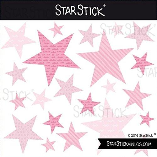 85 Estrellas combinación rosa bebé - Vinilos bebé