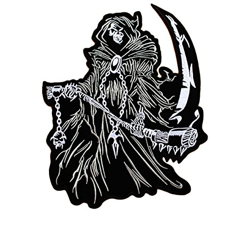 - Sensenmann - 27.5 cm x 22.5 cm XL - Grim Reaper Biker Patches zum Aufbüglen Iron on Patch Aufbügler Flicken Applikation Für Kleidung Jeans- Treasure-Quest ()
