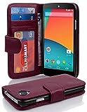 Cadorabo Hülle für LG Nexus 5 Hülle in Handyhülle mit 3 Kartenfächern Case Cover Schutzhülle Etui Tasche Book Klapp Style Bordeaux Lila
