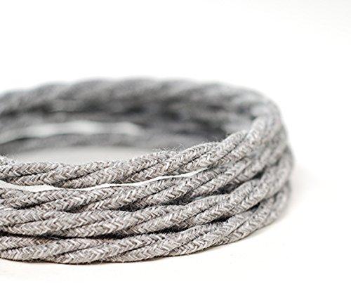 Premium italienischen Vintage-Stoff Flex Beleuchtung Kabel 3Core   Twisted Strickpullover Grau - Grau Cord