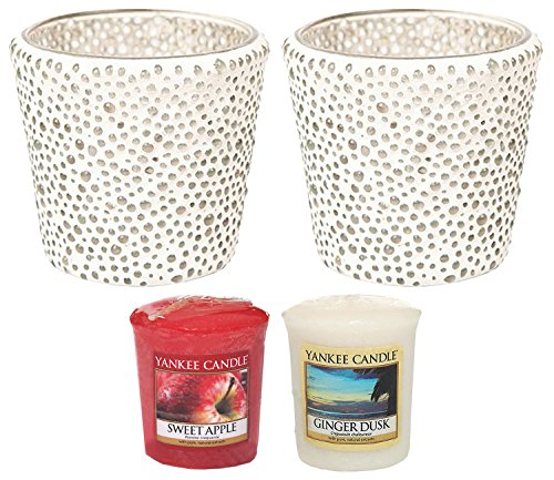 "Yankee Candle Bubble Mosaic Clear Glass Votive Holders TWO PACK Plus TWO SAMPLERS Small 8cm/3.2"" Modern & Contemporary Candle Containers with 1000 Incredible Decorative Glass Beads Indoor/Outdoor"