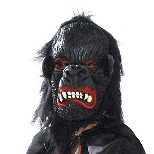 Angry Gorilla Affe Kingkong mit Haaren Kopf Maske mask aus sehr hochwertigen Latex Material mit Öffnungen an Augen Halloween Karneval Fasching Kostüm Verkleidung für Erwachsene Männer und Frauen Damen Herren gruselig Grusel Zombie Monster Dämon Horror Party