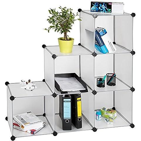 TecTake Estantería de plastico modular armario cuadrados ropero organizador blanco