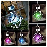 Solar Powered 7 Colors Changing Courtyard Hanging Moving Wind Chime Rotating LED Light