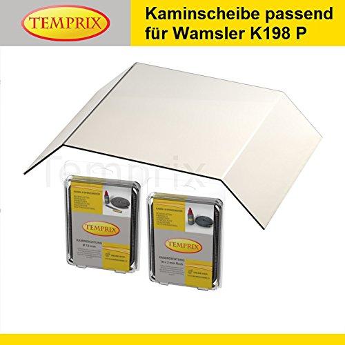 Kaminglas passend für Wamsler Kaminofen KF 198 P | inkl. Dichtung für Kamintür und Glas | » Wunschmaße auf Anfrage « | Temperaturbeständig bis 800°C | Markenqualität in Erstausrüsterqualität |