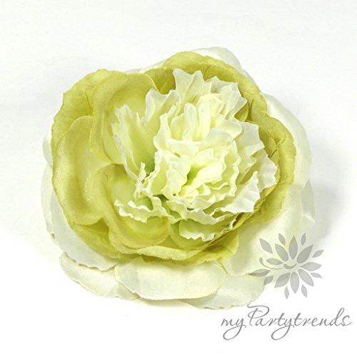 Elegante Haarrose in creme-grün (Ø 12 cm; Höhe 4,5 cm) von myPartytrends. (Ansteckrose, Haarblume mit Schnabelspange, Haarschmuck)