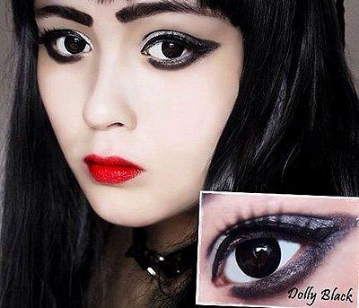 Farbige Kontaktlinsen, Halloween, Fasching, weich, ohne Stärke als 2er Pack - angenehm zu tragen, perfekt zu Halloween, Karneval, Fasching, Junggesellen abschied, Party (schwarz)