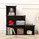6-Cube DIY Shelf Storage Cabinet By House of Quirk Bookcase Media Storage Standing Plastic Cabinet without Doors - Black