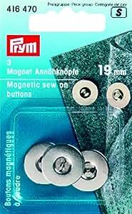 3 Magnet-Annähknöpfe silber 19 mm