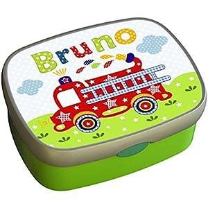 Brotdose mit Namen personalisiert für Kindergarten und Kita, Feuerwehr-Auto für Jungs grün | vollständig abnehmbarer Deckel Brotbox - Butterbrotdose - Vesperdose - Lunchbox - Vesperbox - Brotzeitdose