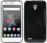 ENERGMiX Alcatel One Touch Go Play (7048X) // Silikon Hülle Tasche Case Gummi Schutzhülle Zubehör in Schwarz