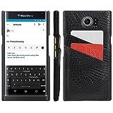 HualuBro Schutzhülle leichtem Kunstleder für BlackBerry Priv Smartphone - hohe Qualität, Ultra dünn, PU-Leder, Card Slot Black, for BlackBerry Priv