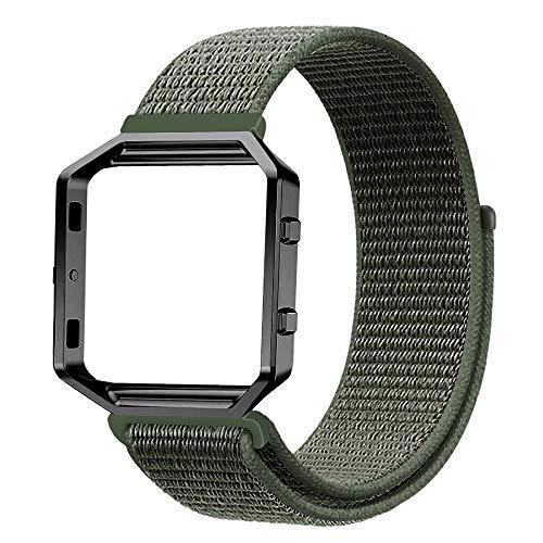 Fintie Armband mit Rahmen kompatibel für Fitbit Blaze - Premium Nylon atmungsaktive Ersatzarmband mit Metallrahmen Gehäuse für Fitbit Blaze Smart Fitness Watch, Nylon Olive