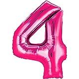 Folienballon - Zahl 4 PINK - XXL 86cm, Zahlen Luftballon + PORTOFREI mgl + Geschenkkarten Set + Helium & Ballongas geeignet. High Quality Premium Ballons vom Luftballonprofi & deutschen Heliumballon Experten. Luftballondeko zum Geburtstag oder Jubiläum. Lustiger Geburtstagsgeschenk Ballon