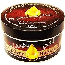 Balsamo per la cura del cuoio con olio di jojoba (250 ml), pulizia e cura naturali della pelle e per tutti i tipi di pelle liscia. Prodotti cruelty-free