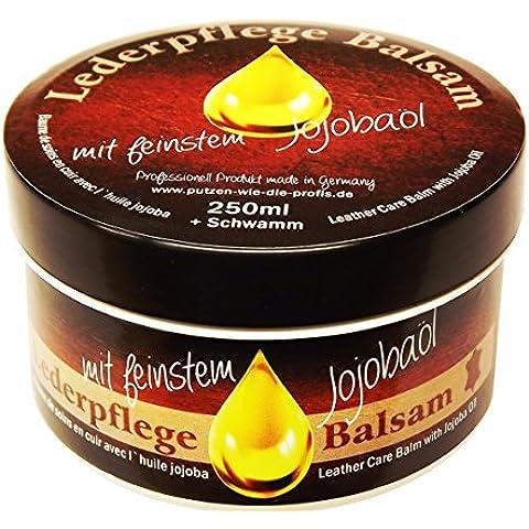 Bálsamo de cuidado para cuero con aceite de jojoba, limpieza natural - para todos las tipos de piel, sin testar en animales