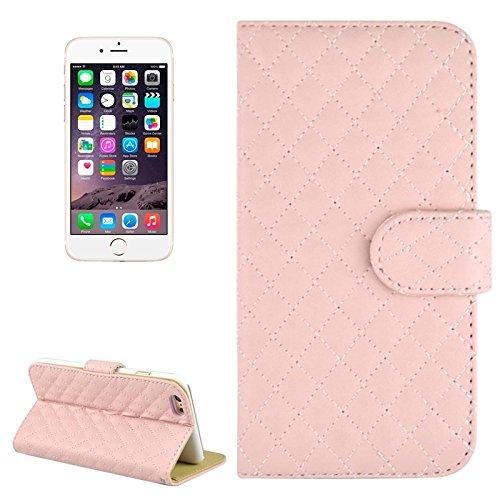 Phone case & Hülle Für iPhone 6 Plus / 6S Plus, Plaid Stitching Line Horizontale Flip PU Ledertasche mit Card Slots & Halter ( Color : Magenta ) Pink