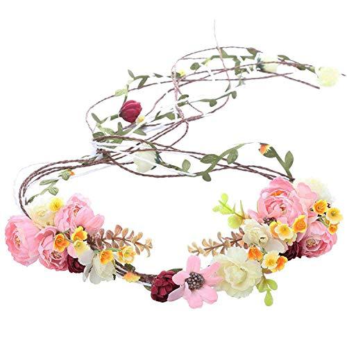 AWAYTR Boho Braut Blume Girlande Stirnband - Frauen Mädchen Einstellbare Baum Rattan Blatt Floral Haar Kranz Hochzeit Fotografie Dekoration (Rosa-1)
