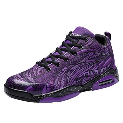 Ziyou Art- und Weisepaar-Basketball-Schuh-Luftkissen-Schlag-atmungsaktive Basketball-Turnschuhe im Freien(43, Lila) - Womens Strappy Wedge Sandal