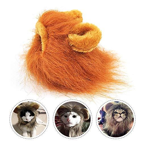 TEEPAO Löwenmähnen-Kostüm, lustige Löwen-Perücke, Kopfbedeckung für Haustierpartys mit Ohren für Katzen/kleine Hunde, Kopfumfang ca. 26 - Löwen Kostüm Für Kleine Hunde
