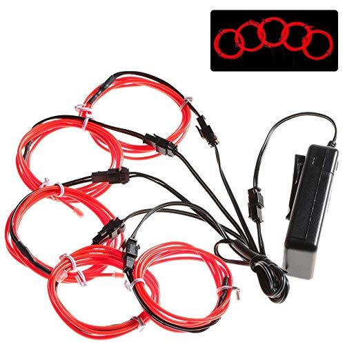 Lychee Flexibel 5x1 m Neon Beleuchtung Draht Lichtschlauch Leuchtschnur EL Kabel Wire mit 3 Modis für Partybeleuchtung(Rot)
