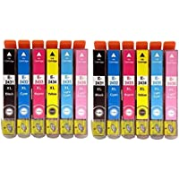 2 Sets = 12x Compatible High Capacity Ink Cartridges T2431 T2432 T2433 T2434 T2435 T2436 T2438 24XL For EPSON 24XL (ELEPHANT) SERIES Expression Photo XP-750 / XP-850 Inkjet Printers. With chip installed and will show ink levels. Contains: 2x T 2431 T 2432 T 2433 T 2434 T 2435 T 2436 (2x T 2438)