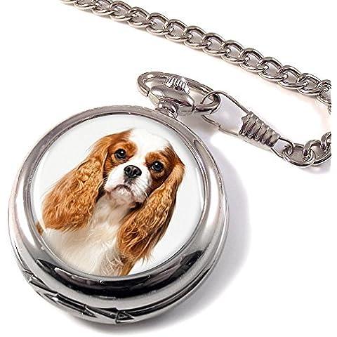 Cavalier King Charles Spaniel perro cazador completo Reloj de bolsillo