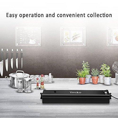 Vakuumiergerät, Ymiko Mini Vakuumierer Portable Kompakt-Vakuum-Siegel-System für Vakuum und Siegel / Siegel, Sous Vide Kochen Mufti-Funktion inklusive 20 Taschen Schwarz - 9