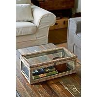 Rustic Rattan French Glass Box 50x26x21cm