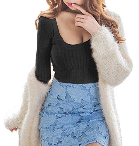 Zlande Femmes Elégante Manche Longue Chemise Tops Haut Col en U Casual Slim T-Shirt Débardeurs Pullover Sweater Chemise de Fond Noir