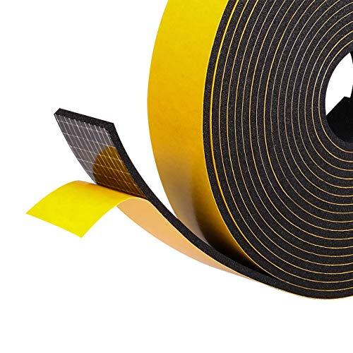 Moosgummi selbstklebend Dichtungsband 25mm(B) x3mm(D) für Türen Schaumstoffband Türdichtung Gummidichtung für Kollision Siegel Schalldämmung Gesamtlänge 10M (2 Rollen je 5m lang) schwarz
