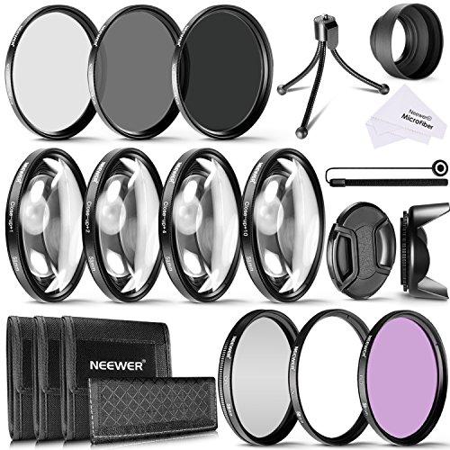 Galleria fotografica Neewer 58mm camera Lens Filter kit include filtri 58mm Close Up (+ 1+ 2+ 4+ 10), ND filtri (ND2ND4ND8) e UV CPL FLD filtri, paraluce e altri accessori per lenti con filtro da 58mm