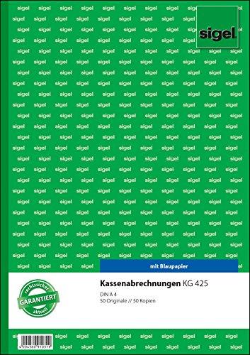 Sigel KG425 Kassenabrechnung A4, 2x50 Blatt