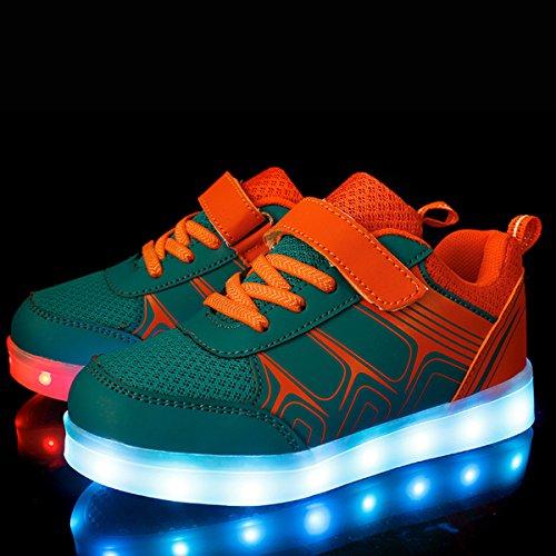 DoGeek Unisex Bambino Scarpe Con Luci Scarpe Led Luminosi Sneakers Con Luce Nella Suola Bright Tennis Shoes USB 7 Colori Lampeggiante Trainners Arancione