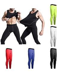 mark8shop Hombres Pantalones de deporte base capas medias de compresión pantalones largos para entrenamiento Fitness