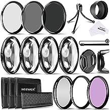 Neewer 58mm lente de la cámara Filtro Kit incluye filtros de 58mm Close Up (+ 1+ 2+ 4+ 10), filtros ND (ND2, ND4y ND8) y UV CPL FLD Filtros, parasol y otros accesorios para objetivos con 58mm filtro Tamaño