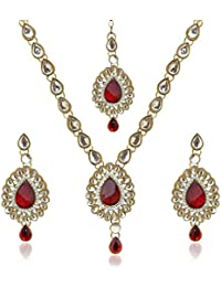 Dancing Girl Bridal Dulhan Red Metal Alloy Jewellery Set With Necklace Maang Tikka And Earrings For Women