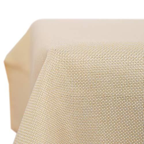 Deconovo Nappe Imperméable pour Table Rectangulaire Effet Lin 130x220 cm Beige