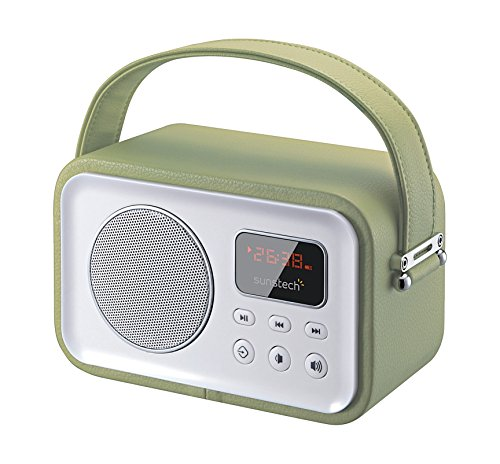 Sunstech RPBT450GN - Radio portátil (FM, Bluetooth, USB, SD, 2.5 W RMS), color verde