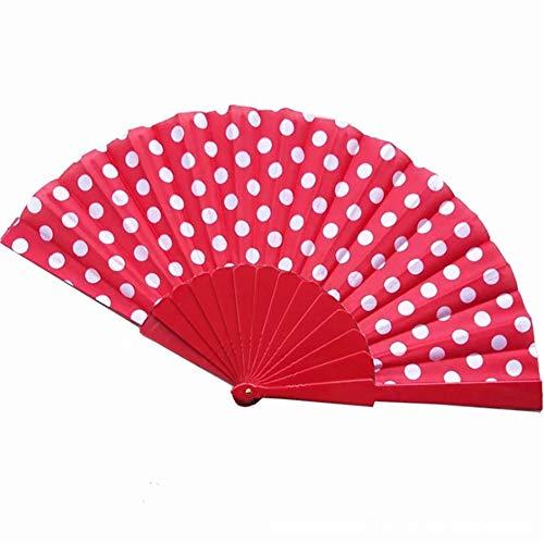 DIJUE Fan Wave Point Europäischen Stil Kunststoff Fan Handwerk Fan 23Cm Weißer Punkt Auf Rotem Grund (Der Tag Der Mutter Handwerk Einfach)